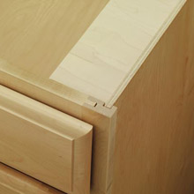 Close-up of cabinet constructed of all plywood