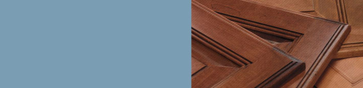 Close up of various cabinet door finishes