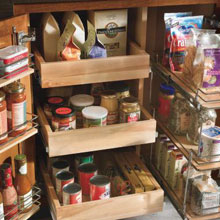Ready-to-eat items in Aristokraft pantry storage cabinet