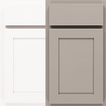 Ellis laminate cabinet doors in White and Stone Gray finishes