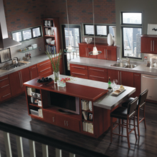Teagan kitchen with Maple Rouge cabinets in a horizontal orientation