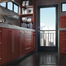 Teagan kitchen with clean lines in Maple Rouge finish