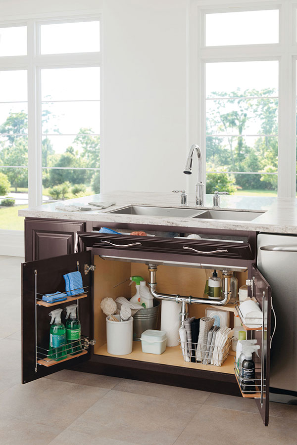 Sink Base SuperCabinet with Tipout Trays