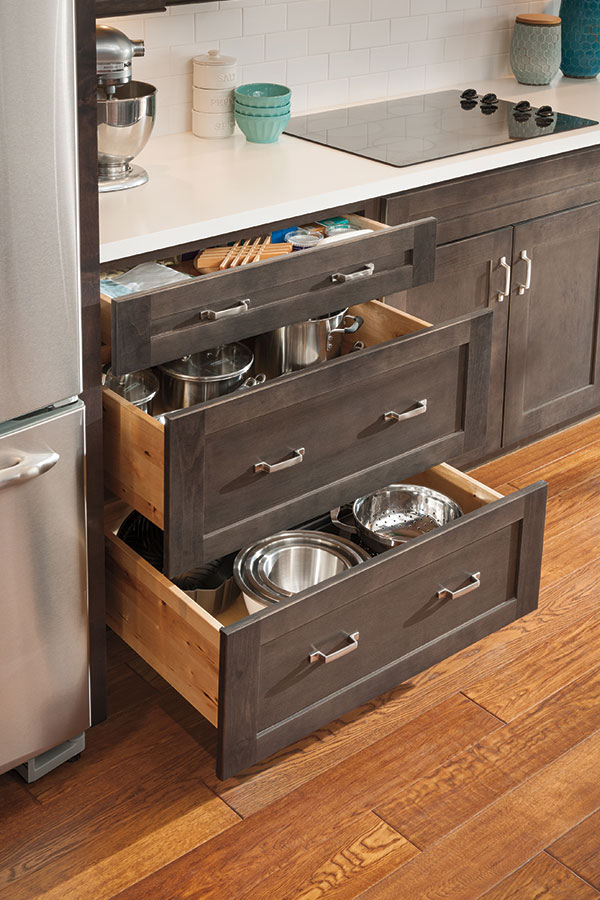 Three drawer base cabinet aristokraft cabinetry for Kitchen cupboard drawers