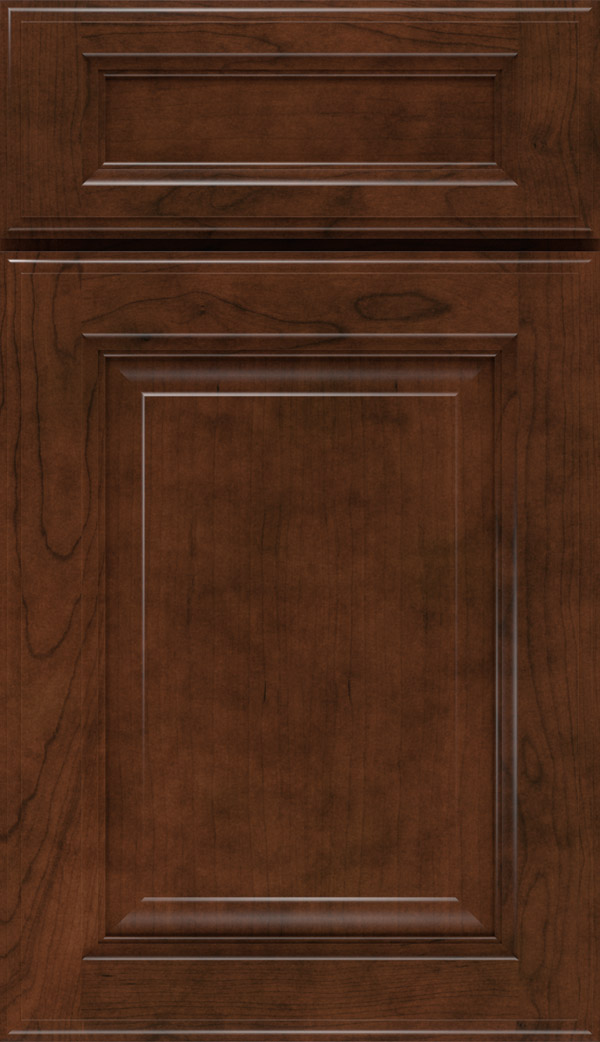 Briarcliff II 5-Piece Cherry raised panel cabinet door in Cafe