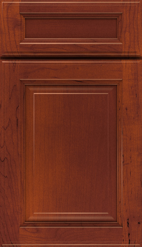 Briarcliff II 5-piece Maple raised panel cabinet door in Rouge