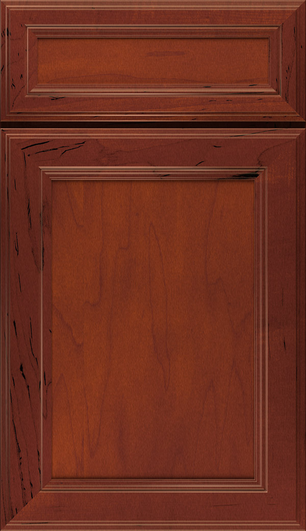 Wentworth 5-piece Maple flat panel cabinet door in Rouge
