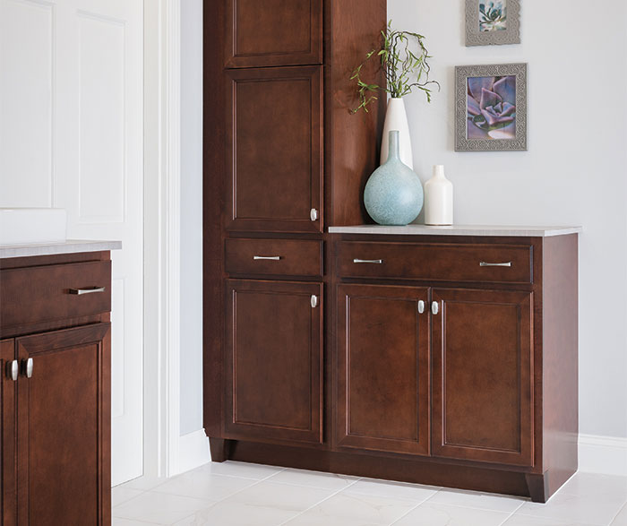 Dark Maple bathroom cabinets