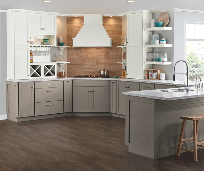 Brellin gray and white kitchen cabinets