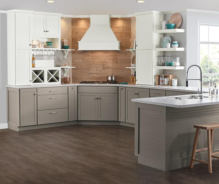 ... Brellin Gray And White Kitchen Cabinets ...