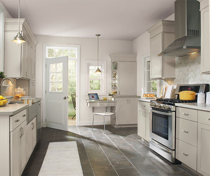 White Kitchen Cabinets Light Floor: Glacier Gray Laminate Cabinets