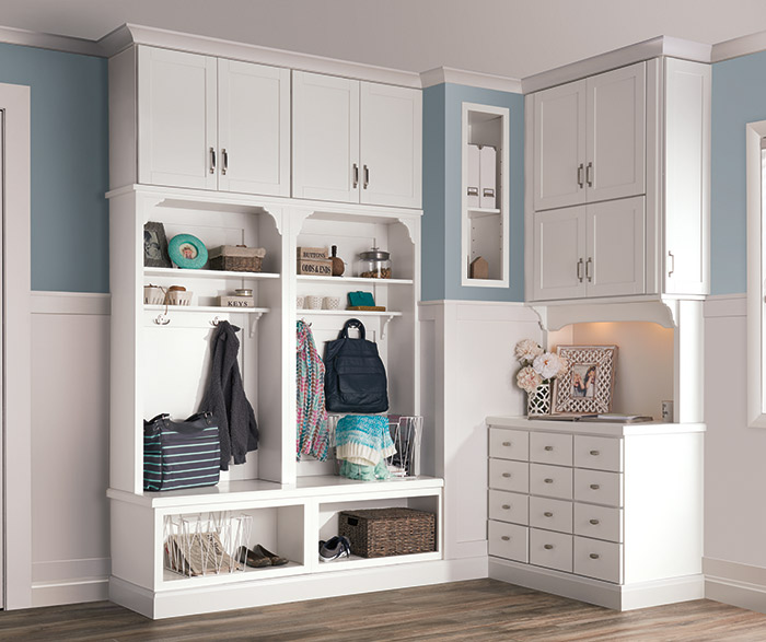 White Entryway Storage Cabinets