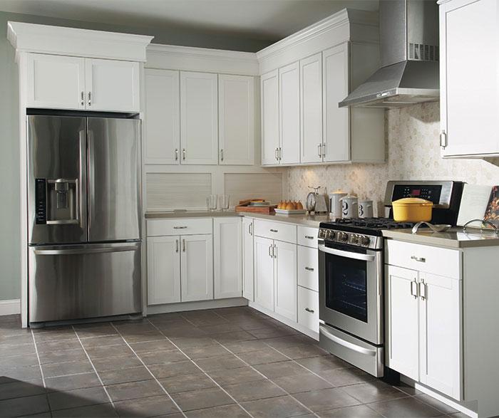 Beau ... Brellin White Laminate Kitchen Cabinets ...
