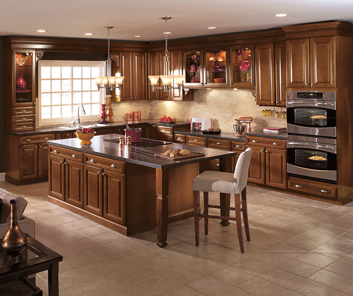 cherry wood kitchen cabinets in a dark saddle finish - Cherry Wood Kitchen Cabinet