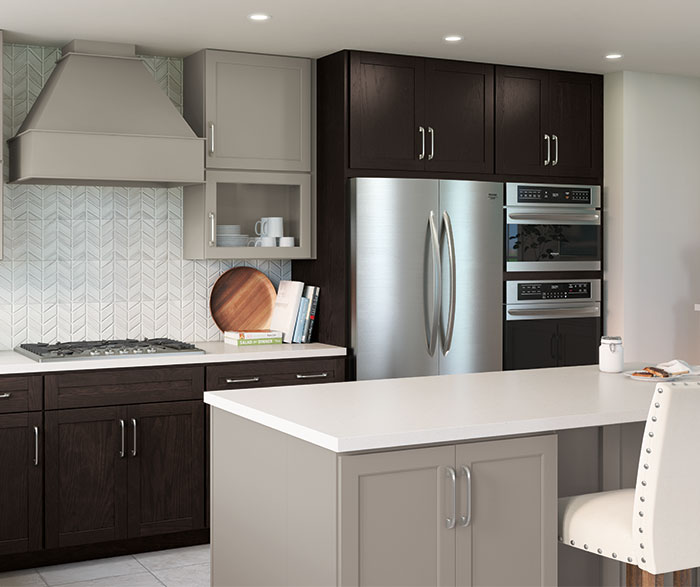Casual Gray and Textured Woodtone PureStyle™ Kitchen Cabinets