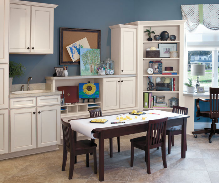 Craft room with Aristokraft Durham cabinets