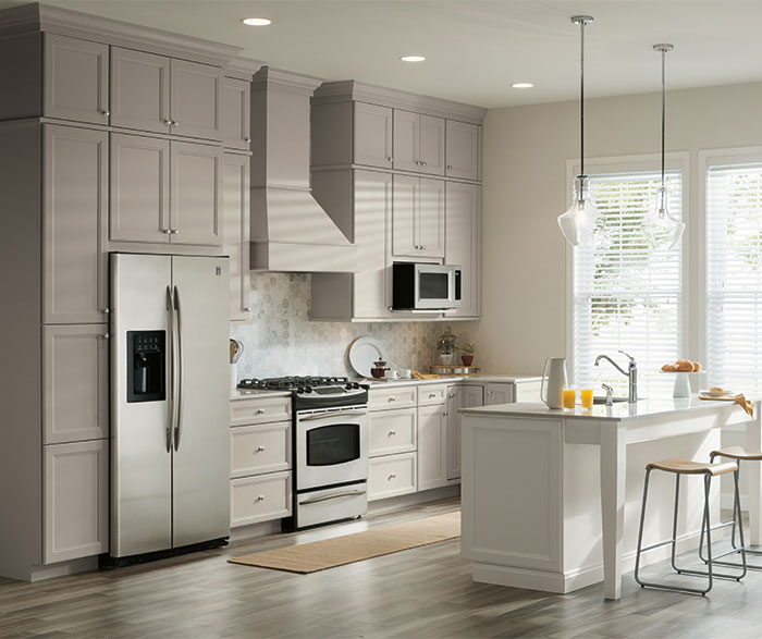 Two Tone Kitchen With Gray Cabinets And A White Island ...