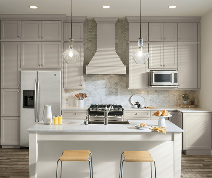 ... Two Tone Kitchen With Gray Cabinets And A White Island ...