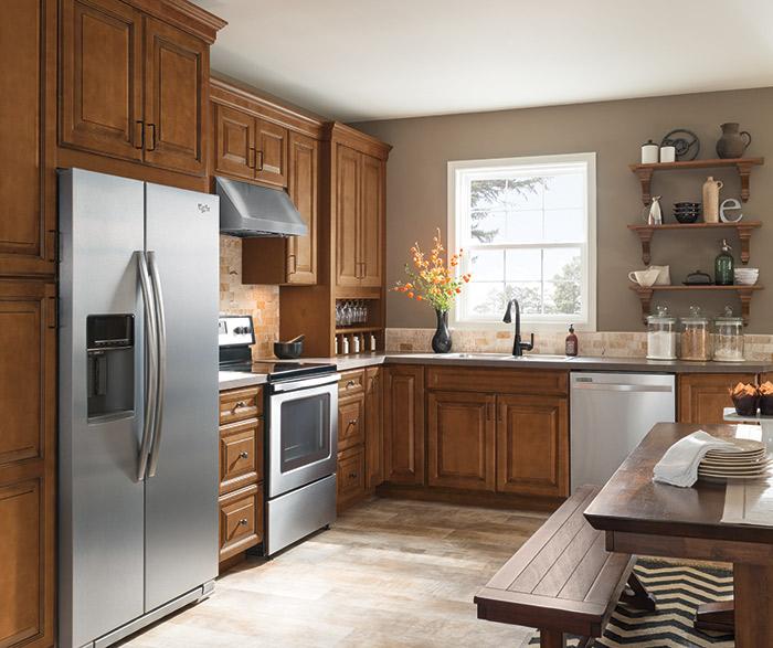 Warm Brown Glazed Kitchen Cabinets In Maple Pumpernickel ...