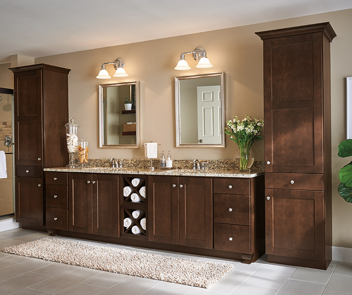 bathroom with black cabinets linen closet cabinet aristokraft cabinetry 11885