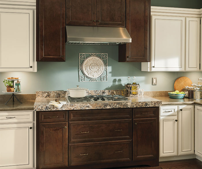 rustic kitchen cabinets with contrasting finishes  rustic kitchen with contrasting finishes by aristokraft     wall easy reach cabinet   aristokraft cabinetry  rh   aristokraft com