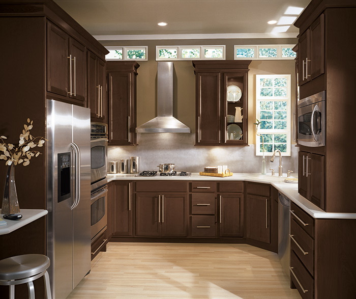 Sinclair Birch wood kitchen cabinets in Umber finish