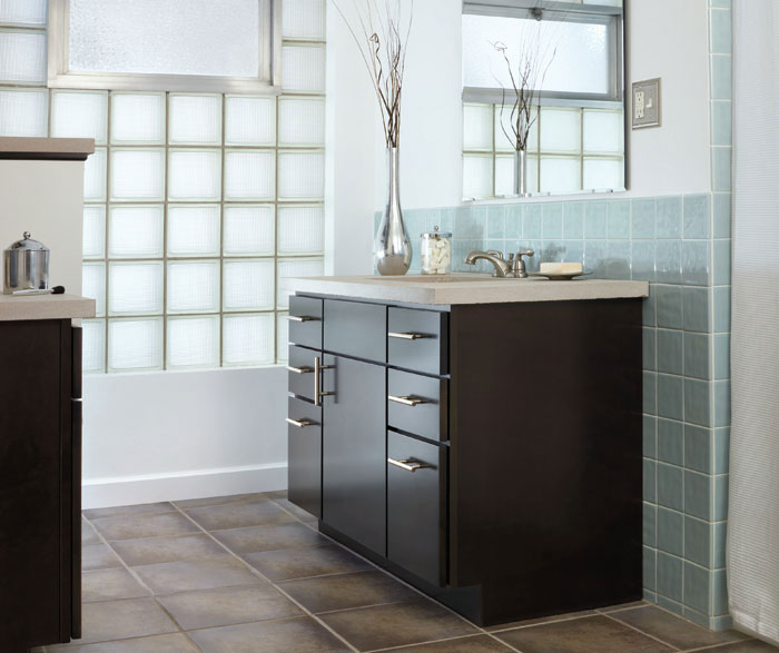 Dark Wood Cabinet in a Contemporary Bathroom