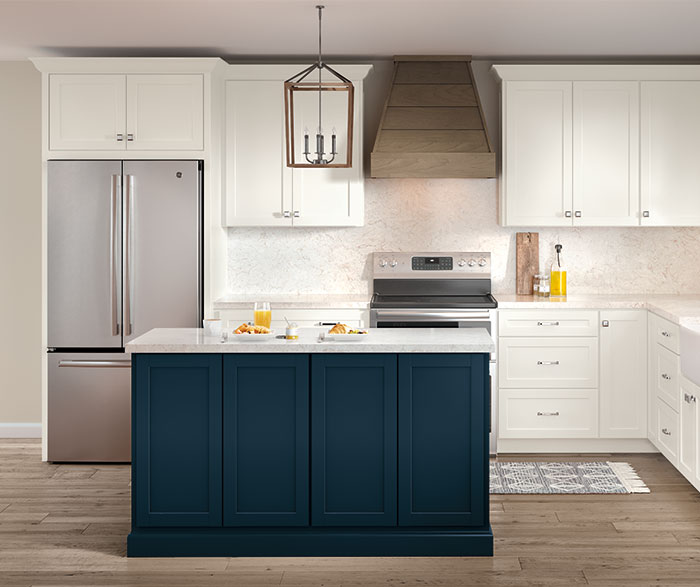 Casual Painted White and PureStyle™ Blue Kitchen Cabinets