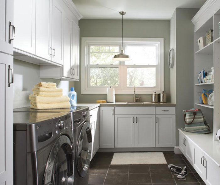 Charming Laundry Room Cabinets In Painted White Maple By Aristokraft Cabinetry ...