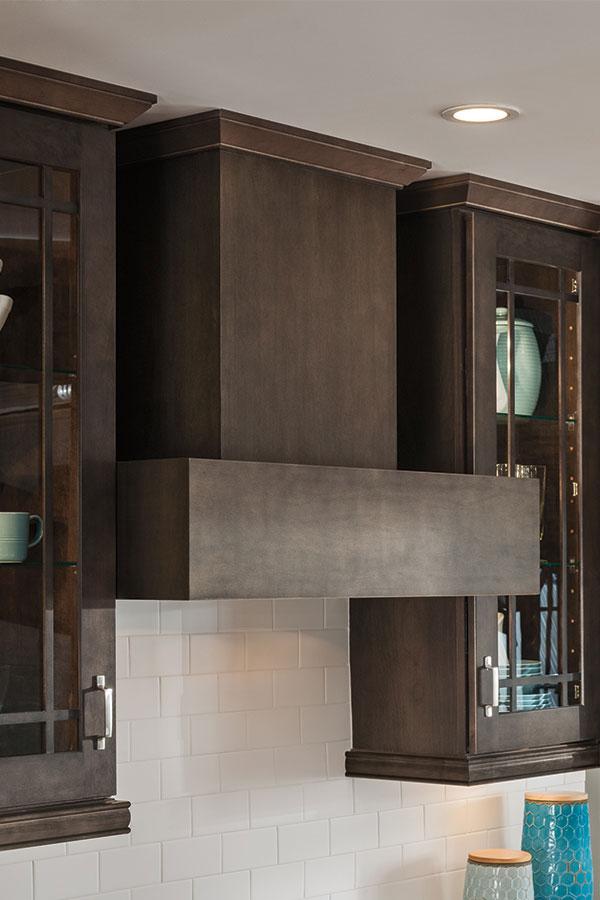 Wood Chimney Hoods ~ Dark gray kitchen cabinets aristokraft cabinetry