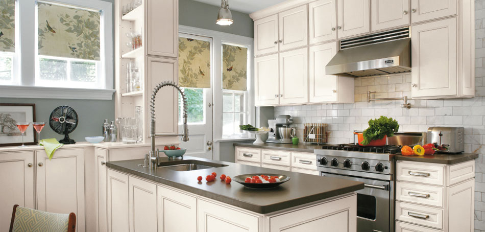 Durham laminate cabinets shown in a casual kitchen