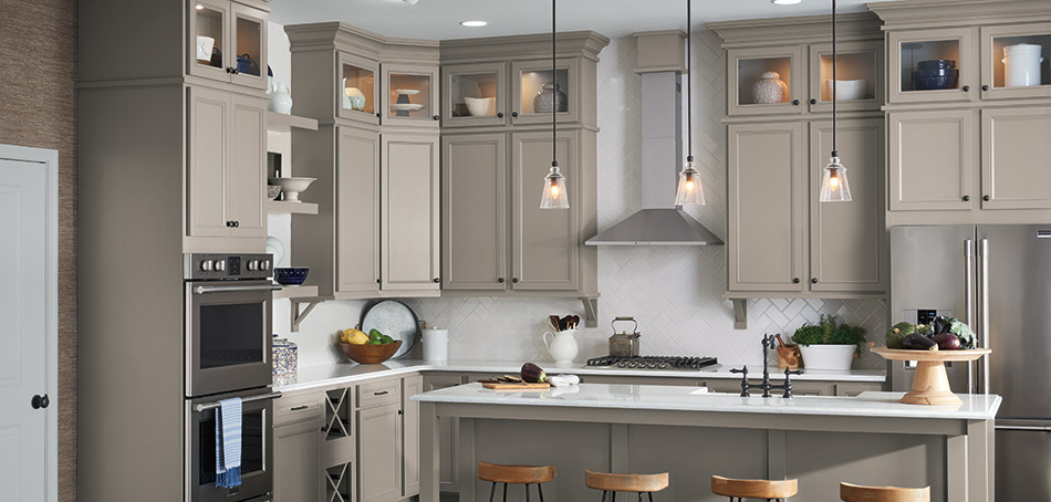 Lillian laminate kitchen cabinets in Stone Gray