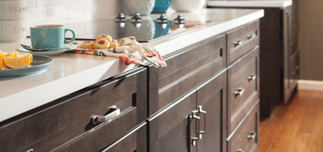 Close-up image of Korbett Maple Flagstone cabinets