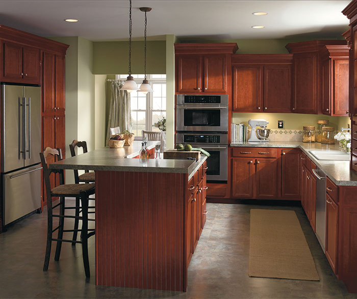 Dark Cherry kitchen cabinets by Aristokraft Cabinetry