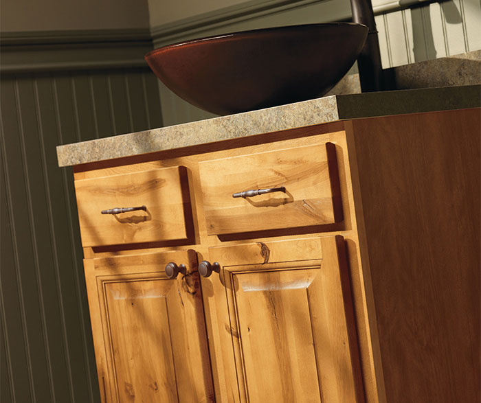 Close-up of rustic bathroom cabinets