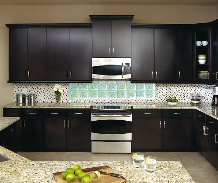 Contemporary kitchen with Sarsaparilla cabinets by Aristokraft Cabinetry